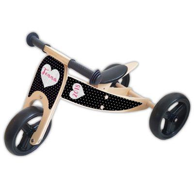 loopfiets-2-in-1-naam houten-hart-roze